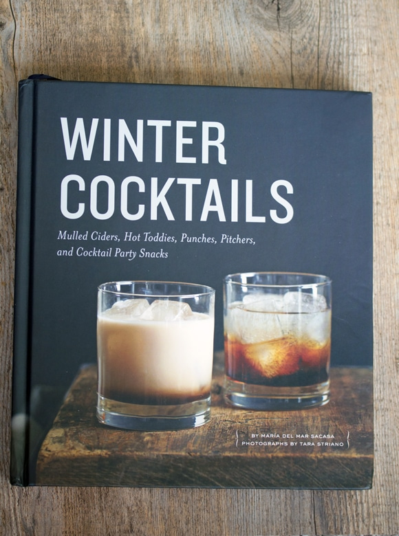 Overhead view of Winter Cocktails book cover