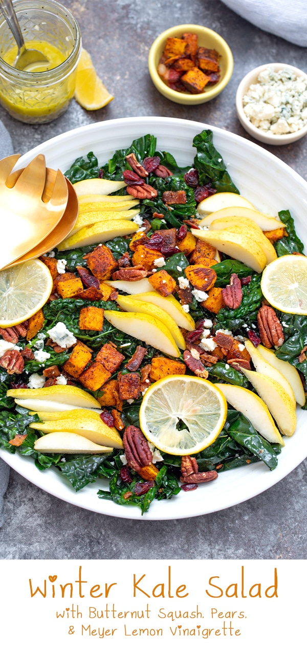 Winter Kale Salad with Butternut Squash, Pears, and Meyer Lemon Vinaigrette