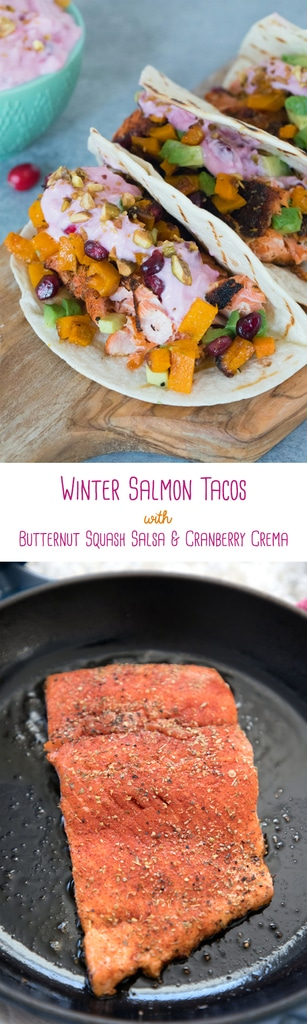 Winter Salmon Tacos with Butternut Squash Salsa and Cranberry Crema -- These fish tacos let you celebrate the winter season while sticking to a healthy eating plan! Packed with lots of winter flavors, algae oil is used to boost good fats | wearenotmartha.com #salmon #fishtacos #tacos #algaeoil #butternutsquash #cranberries