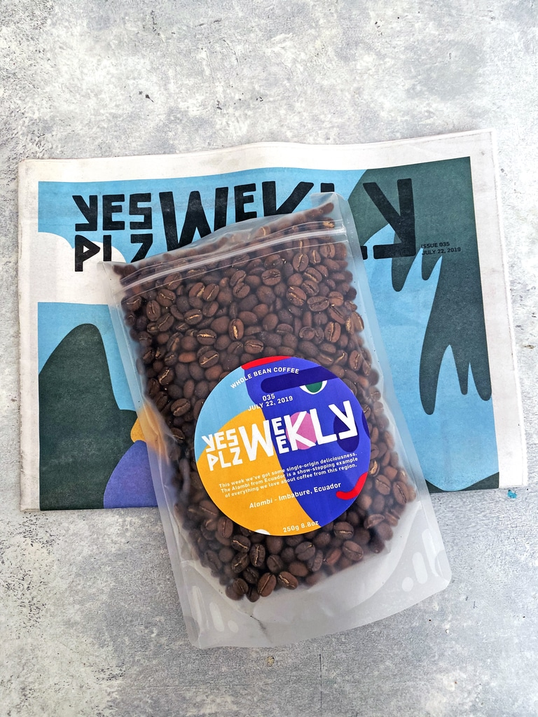 Yes Plz Coffee beans on newspaper