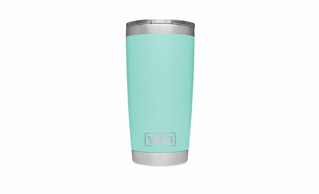 Head-on view of seafoam colored Yeti tumbler