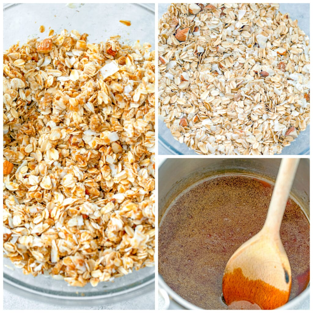 Collage showing process for making granola, including dry oat mixture in bowl, oil and sugar mixture in saucepan, and oil and sugar mixture poured over oat mixture in bowl