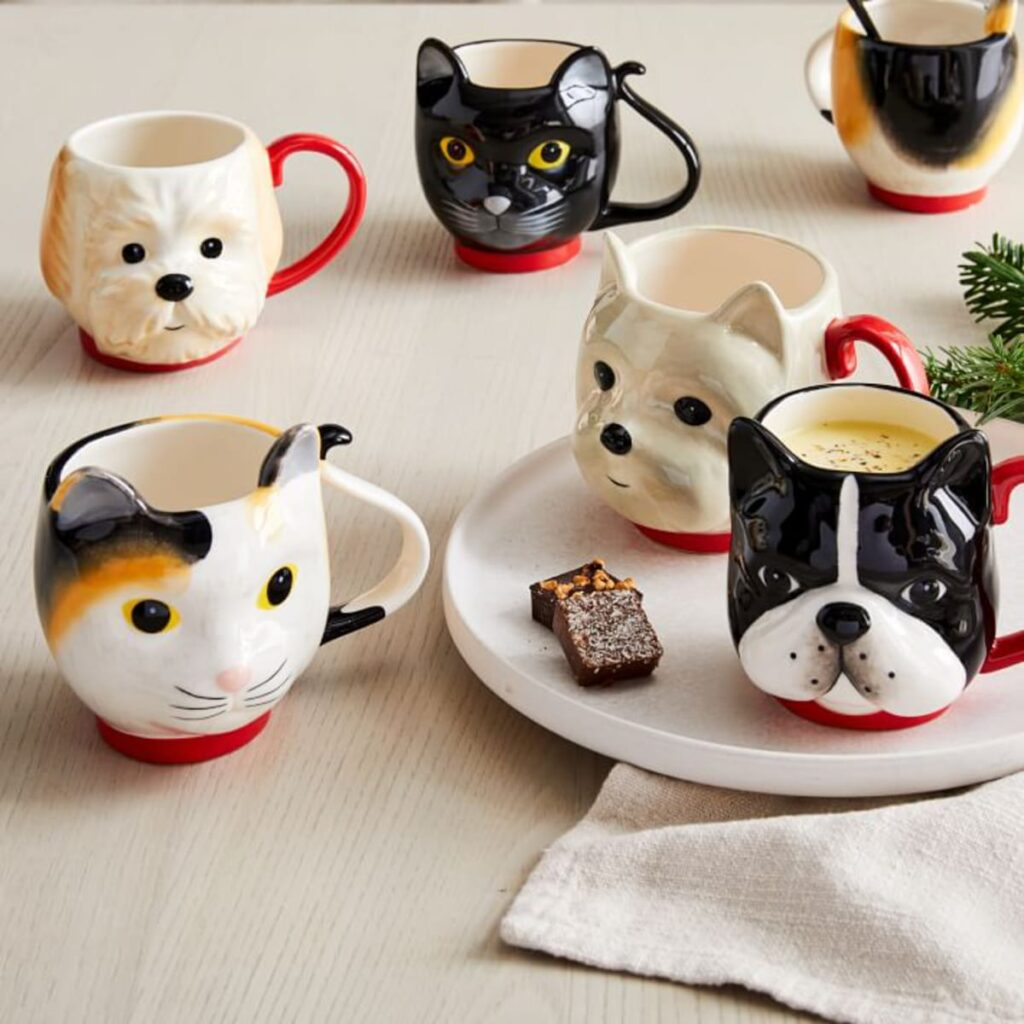 Collection of dog and cat mugs