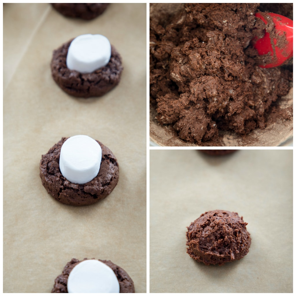 Collage showing chocolate surprise cookie making process, including chocolate batter, cookies formed on parchment paper, and marshmallow half being pressed into cookie