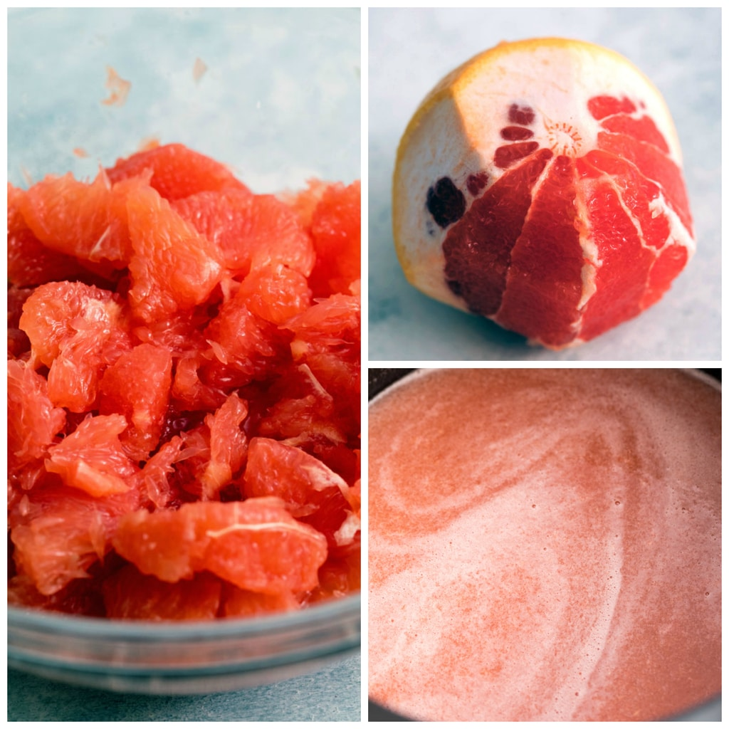 Collage showing grapefruit jam making process, including grapefruit half peeled being supremed, grapefruit flesh sectioned, and grapefruit juice ready to be made into jam