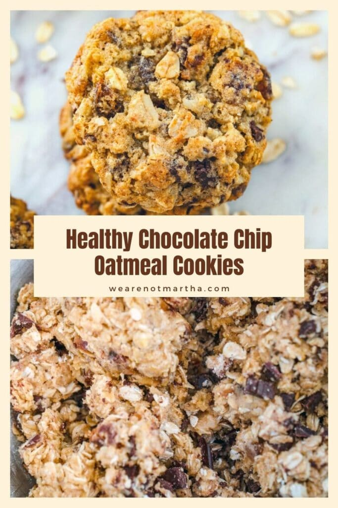 These Healthy Chocolate Chip Oatmeal Cookies are made with whole wheat flour, dates, and oats, but are some of the most delicious cookies ever!   wearenotmartha.com #cookies #healthycookies #oatmealcookies #datesrecipes