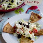 Greek Taco Dip with Black Pepper Pita Chips