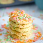 Sherbet Fruity Pebbles Pancakes {in a whoopie pie pan}